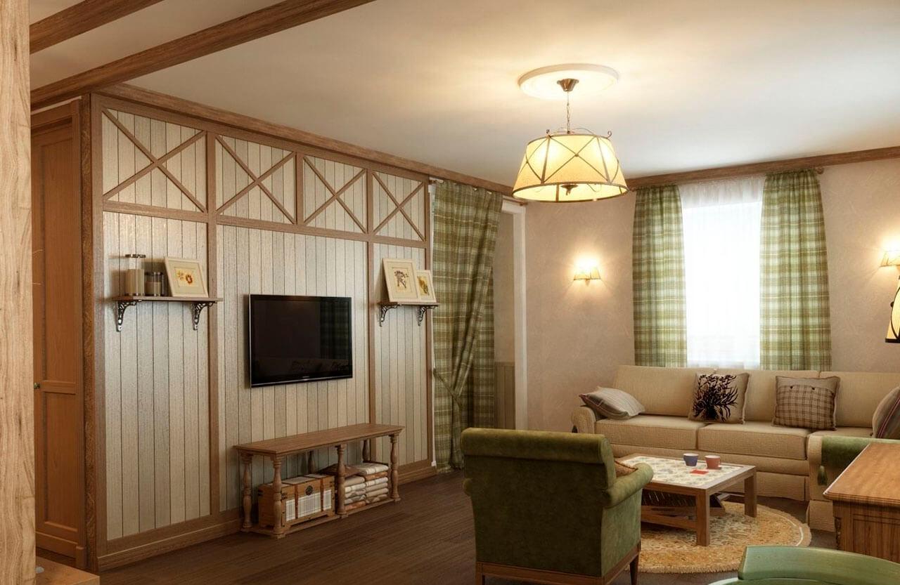 Дизайн гостиной в деревенском стиле в квартире