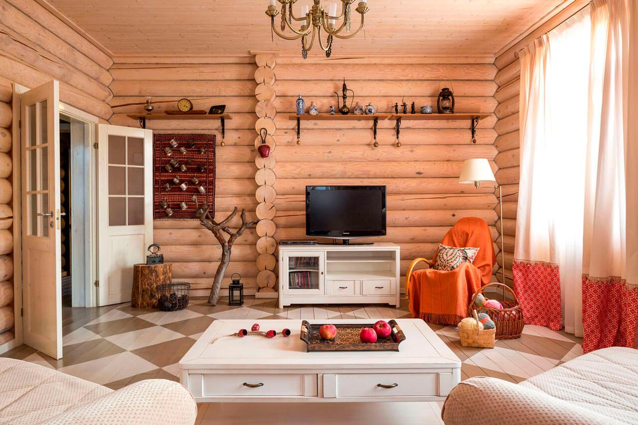 даче интерьер в фото деревянной