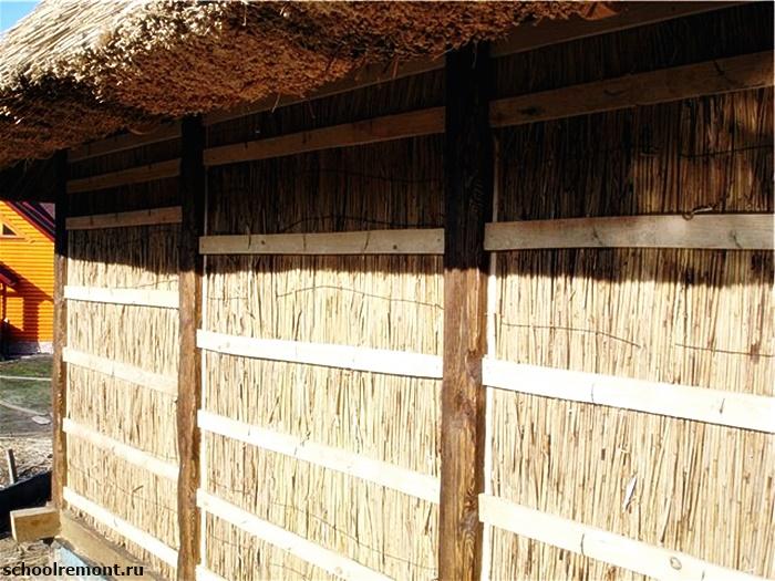 Камышовая стена сарая