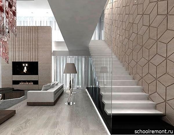 Стекло и бетон в лестнице