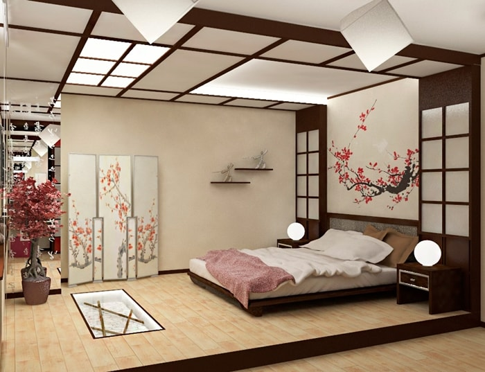 Японский стиль - кровать на подиуме
