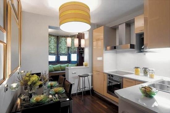 Кухня гостиная 17 кв.м с балконом дизайн