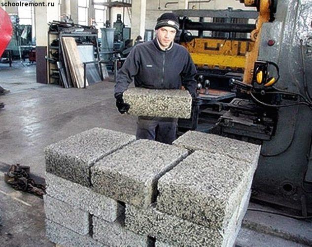 Вынос готовых арболитных блоков