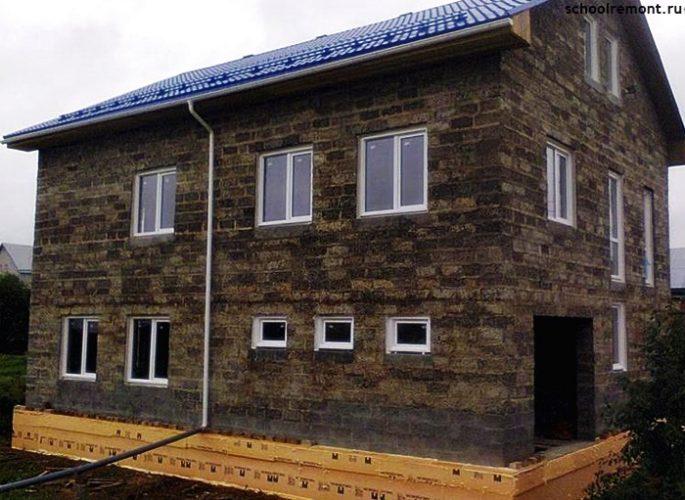 Двух этажный дом арболит