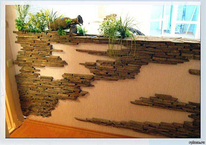 Декор квартиры камнем