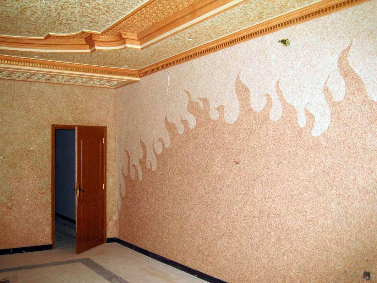 декор стен жидкими обоями фото бытовых